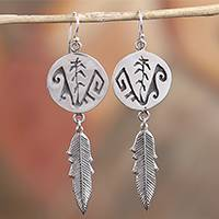 Sterling silver dangle earrings, 'Navajo Mountains' - Navajo Taxco Sterling Silver Dangle Earrings from Mexico