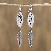 Sterling silver dangle earrings, 'Navajo Grecas' - Taxco Sterling Silver Navajo Dangle Earrings from Mexico
