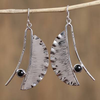 Obsidian dangle earrings, 'Modern Windy Leaves' - Modern Taxco Obsidian Dangle Earrings from Mexico
