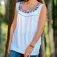 Sleeveless cotton blouse, 'Daisy Daydream' - White with Colorful Embroidery Cotton Sleeveless Blouse
