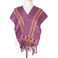 Cotton scarf, 'Artisan Stripes in Magenta' - Striped Cotton Wrap Scarf in Magenta and Smoke from Mexico
