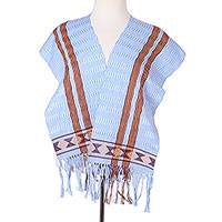 Cotton scarf, 'Artisan Stripes in Sky Blue' - Striped Cotton Wrap Scarf in Sky Blue and Apricot