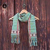 Cotton scarf, 'Artisan Stripes in Maize' - Striped Cotton Wrap Scarf in Maize and Turquoise from Mexico