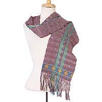 Cotton scarf, 'Artisan Stripes in Mahogany' - Striped Cotton Wrap Scarf in Mahogany and Turquoise