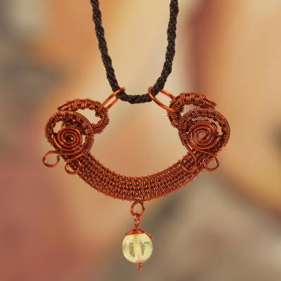 Amber and copper pendant necklace, 'Age-Old Intrigue' - Amber and Copper Pendant Necklace from Mexico