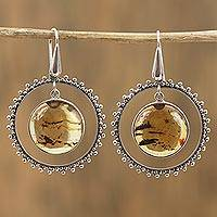 Amber dangle earrings, 'Age-Old Rings' (Mexico)