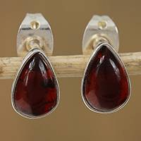 Amber stud earrings, 'Buckler Drops' - Drop-Shaped Amber Stud Earrings from Mexico