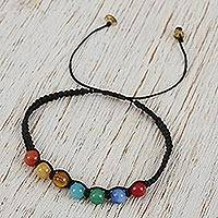 Agate and amber beaded macrame bracelet, 'Age-Old Rainbow' - Colorful Agate and Amber Beaded Macrame Bracelet from Mexico