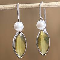 Amber and cultured pearl dangle earrings, 'Amber Eyes' - Amber and Cultured Pearl Dangle Earrings from Mexico