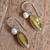 Amber and cultured pearl dangle earrings, 'Amber Eyes' - Amber and Cultured Pearl Dangle Earrings from Mexico (image 2b) thumbail
