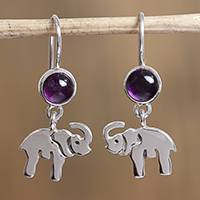 Amethyst dangle earrings, 'Elephant Purple' - Amethyst Elephant Dangle Earrings from Mexico