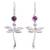 Amethyst dangle earrings, 'Chasing Purple' - Amethyst Dragonfly Dangle Earrings from Mexico (image 2a) thumbail