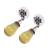 Amethyst dangle earrings, 'Lovely Nectar' - Floral Amber Dangle Earrings from Mexico (image 2c) thumbail