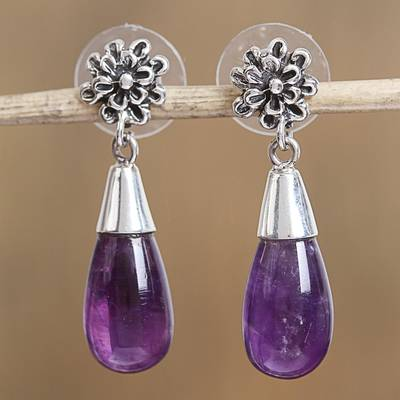 Amethyst dangle earrings, 'Lovely Nectar' - Floral Amethyst Dangle Earrings from Mexico