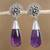 Amethyst dangle earrings, 'Lovely Nectar' - Floral Amethyst Dangle Earrings from Mexico thumbail
