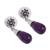 Amethyst dangle earrings, 'Lovely Nectar' - Floral Amethyst Dangle Earrings from Mexico (image 2c) thumbail