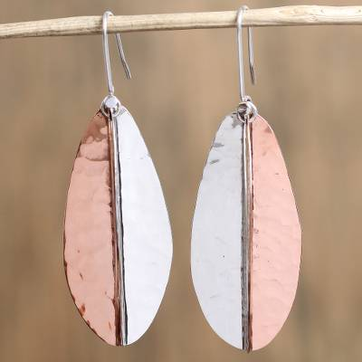 Sterling silver and copper dangle earrings, Rippling Leaves
