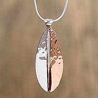 Sterling silver and copper pendant necklace, 'Rippling Leaf' - Leaf-Shaped Sterling Silver and Copper Pendant Necklace