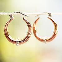 Sterling silver accented copper hoop earrings, 'Copper Crescents' - Sterling Silver and Copper Hoop Earrings from Mexico