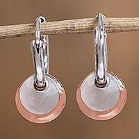 Sterling silver and copper dangle earrings, 'Elegant Eclipse' - Round Sterling Silver and Copper Hoop Dangle Earrings