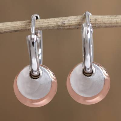 Sterling silver and copper dangle earrings, Elegant Eclipse