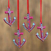 Ceramic ornaments, 'Purple Anchors' (set of 4) - Hand-Painted Ceramic Anchor Ornaments from Mexico (Set of 4)