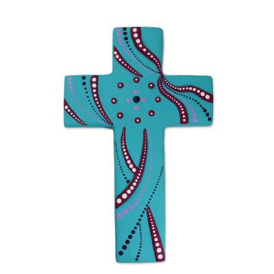 Ceramic Wall Cross in Turquoise from Mexico