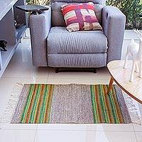 Wool area rug, 'Rainbow in the Dark' (2x3.5) - Striped Zapotec Wool Area Rug from Mexico (2x3.5)