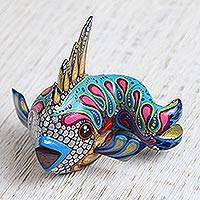 Wood alebrije figurine, 'Glittering Fish' - Hand-Painted Wood Alebrije Fish Figurine from Mexico