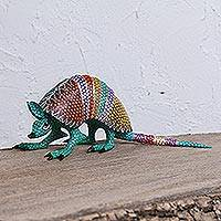 Wood alebrije sculpture, 'Dotted Armadillo' - Colorful Wood Alebrije Armadillo Sculpture from Mexico