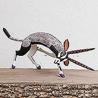 Wood alebrije sculpture, 'Grey Gazelle' - Handcrafted Wood Alebrije Gazelle Sculpture from Mexico
