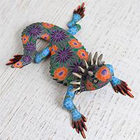 Wood alebrije sculpture, 'Horny Toad' - Floral Wood Alebrije Horny Toad Sculpture from Mexico