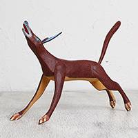 Wood alebrije sculpture, 'Brown Fox' - Handcrafted Wood Alebrije Fox Sculpture from Mexico