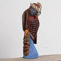 Wood alebrije sculpture, 'Owl Watcher' - Handcrafted Wood Alebrije Owl Sculpture from Mexico