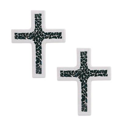 Dark Turquoise and White Glass Mosaic on Wood Crosses (Pair)