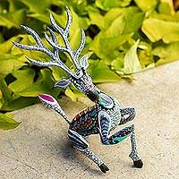 Wood alebrije sculpture, 'Grey Deer' - Handcrafted Alebrije Deer Sculpture in Grey from Mexico