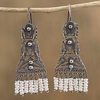 Cultured pearl filigree chandelier earrings, 'Artisanal Symmetry' - Cultured Pearl Filigree Chandelier Earrings from Mexico