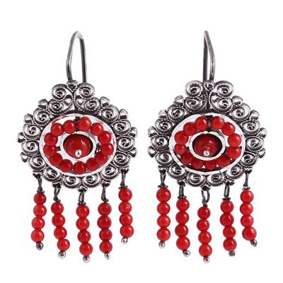 Sterling Silver Filigree Waterfall Earrings in Red