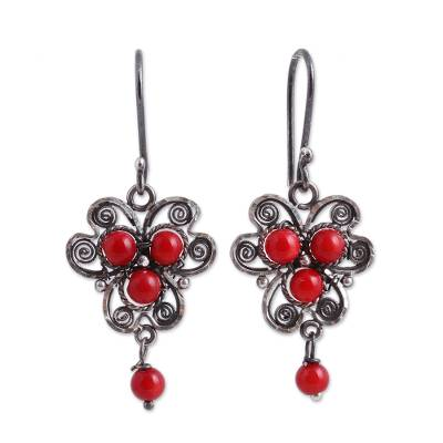 Sterling Silver Filigree Dangle Earrings with Red Glass Bead