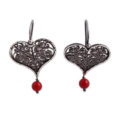 Heart-Shaped Sterling Silver Filigree Dangle Earrings