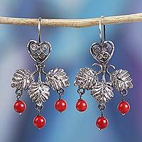 Sterling silver filigree chandelier earrings, 'Red Droplets' - Leaf and Heart Sterling Silver Filigree Chandelier Earrings