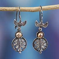 Cultured pearl dangle earrings, 'Birds Chasing Leaves' - Bird-Themed Cultured Pearl Dangle Earrings from Mexico