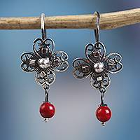 Sterling silver filigree dangle earrings, 'Antique Clover' - Sterling Silver Filigree and Glass Dangle Earrings
