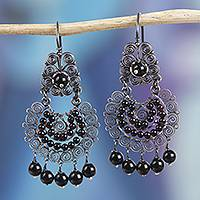 Sterling silver filigree chandelier earrings, 'Black Antiques' - Spiral Motif Sterling Silver Filigree Chandelier Earrings