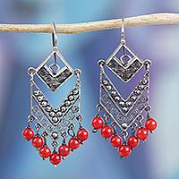 Sterling silver filigree waterfall earrings,