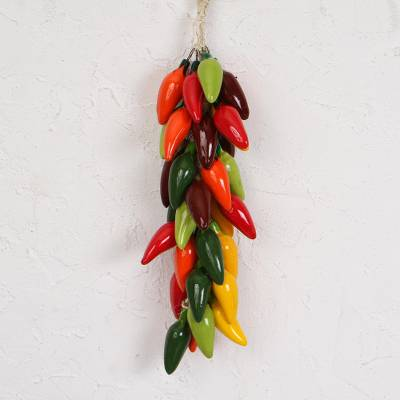 Ceramic decorative accent, 'Jalapeno Bunch' - Ceramic Jalapeno Pepper Ristra Decorative Accent from Mexico