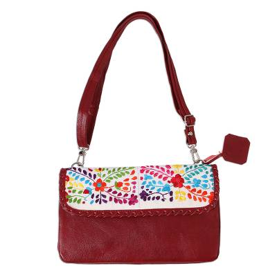 Floral Cotton Accent Claret Leather Sling from Mexico