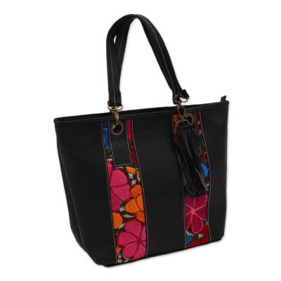 Floral Cotton Accent Black Leather Tote from Mexico