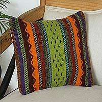 Wool cushion cover, 'Zapotec Colors' - Multicolored Zapotec Wool Cushion Cover from Mexico