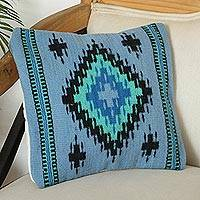 Wool cushion cover, 'Blue Zapotec' - Zapotec Wool Cushion Cover in Cerulean from Mexico